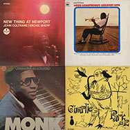 Plattencover: Coltrane/Shepp, Armstrong, Monk, Bird (Collage)