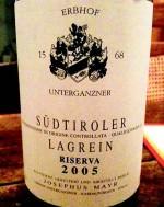 Erbhof Unterganznerhof Lagrein Riserva 2005 (Etikett)